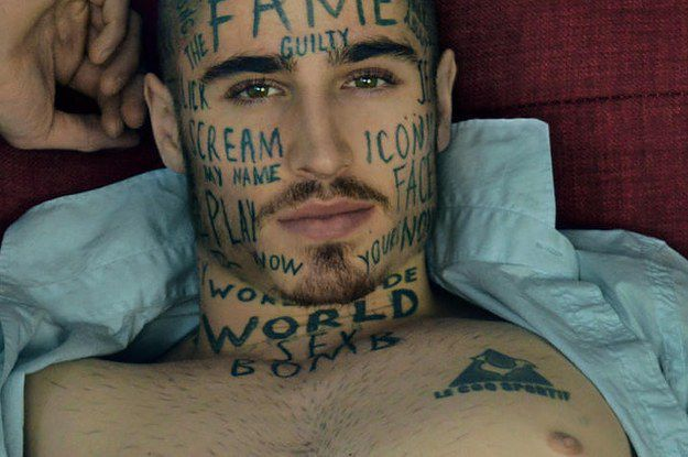 This hot male model has more face tattoos than you for Tattoos gone wrong buzzfeed