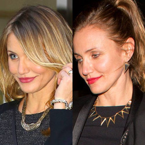 Cameron Diaz Debuts Brunette Locks, Nose Piercing During ...