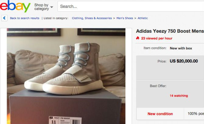 20 000 On For Kanye S Yeezy Boost 350 Sneakers Sold Out Shoes Going Big Bucks Online
