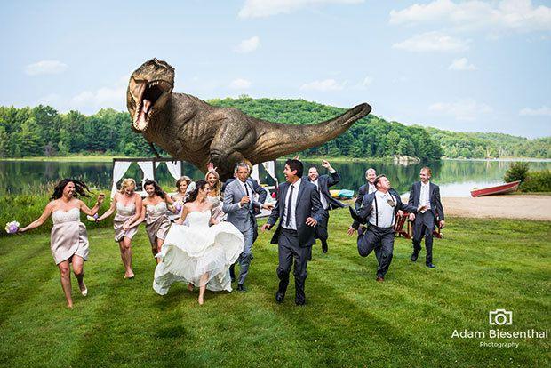 Turns Jeff Goldblum Wedding Invite Into Jurassic Park Photo Op