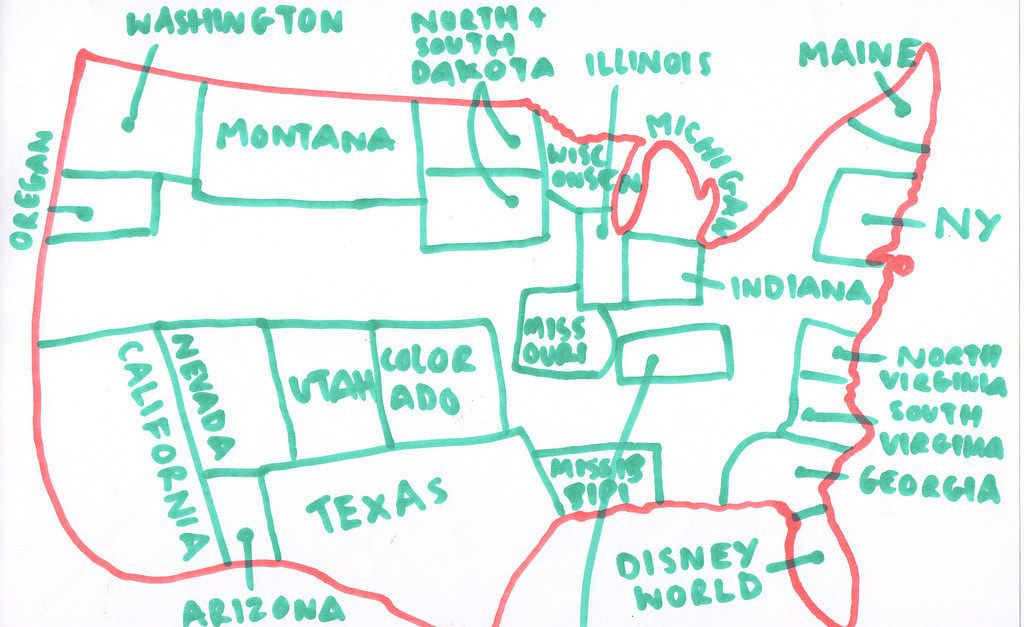 Independence Day So We Asked Brits To Draw A Map Of The US From - Us map drawn by brits