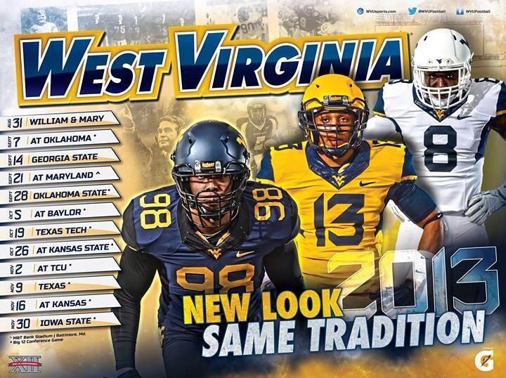 2013 WVU Football Schedule Poster.
