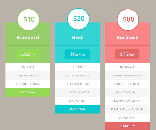 15 best free html5 css3 pricing tables templates 2015 for Html5 table design