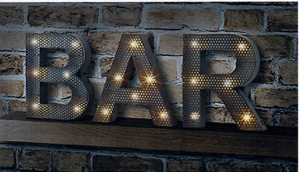 Bar Sign Large Light Up Marquee Rustic Metal