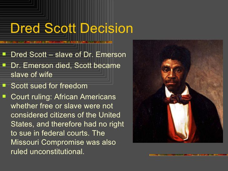 an analysis of slavery in the dredd scott vs sanford case in missouri