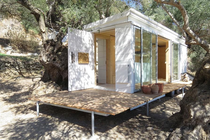 Tiny Modern House On Wheels teacher's modern, off-grid crete tiny house on wheels