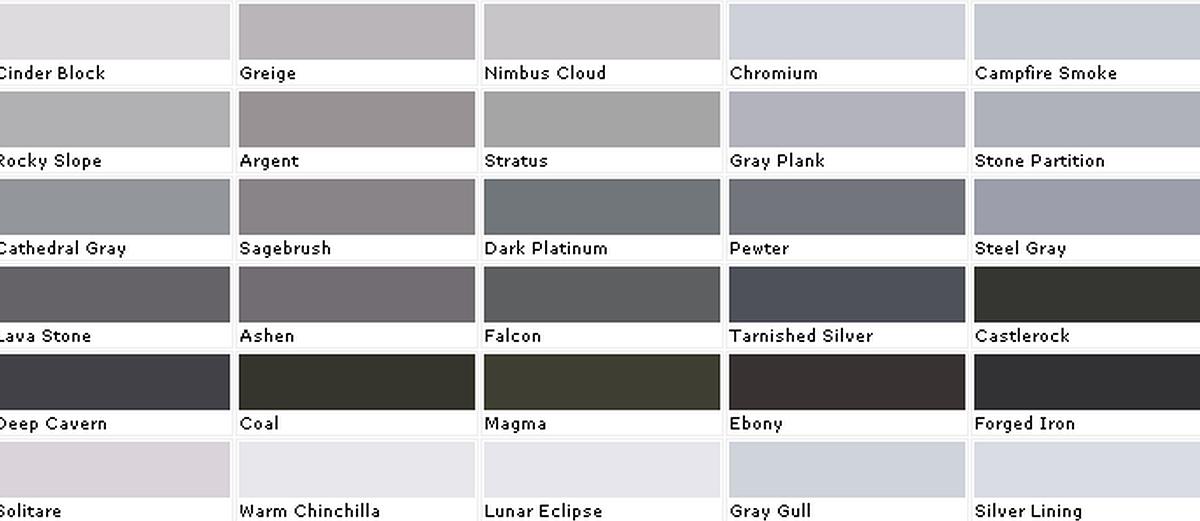 Grey White Paint Names
