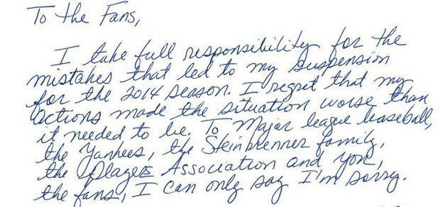 Alex Rodriguezs Apology Letter Was A Lie Yuri Sucarts