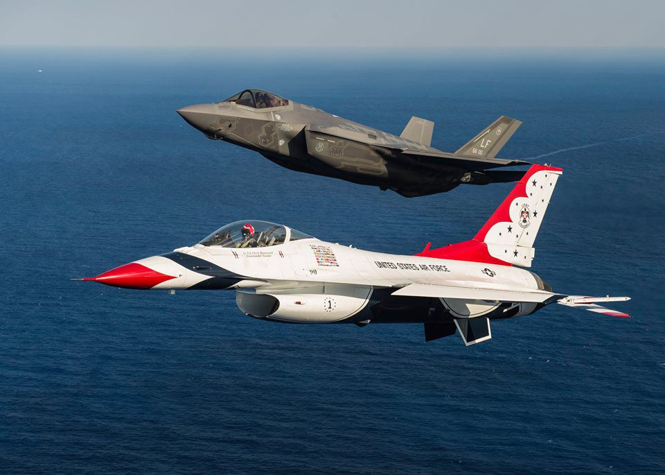 F35 Joint Strike Fighter Takes On Thunderbirds Stripes