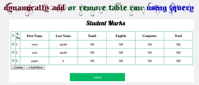 Dynamically add or remove table row using jquerysmart for Table design using jquery