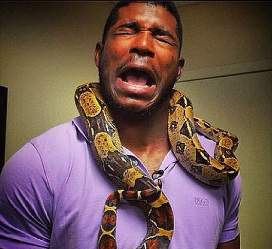 Yasiel Puig Faces His Fear Of Snakes By Wearing A Snake