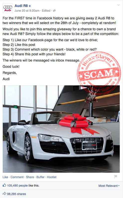 R Facebook Giveaway Scam - Audi car giveaway