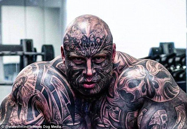 20 Stone Weightlifter Covered Head To Toe In Tattoos border=