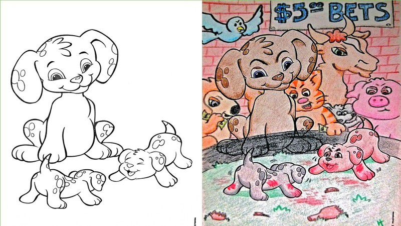 18 Hilariously Dark Coloring Book Corruptions That Just Might Ruin Your Childhood