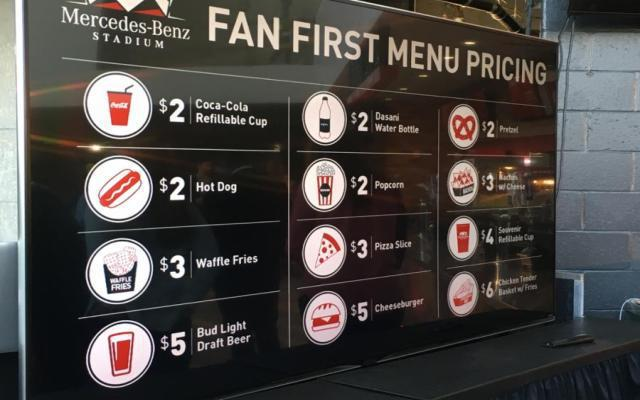 Atlanta falcons unveil revolutionary concession pricing at for Mercedes benz stadium price