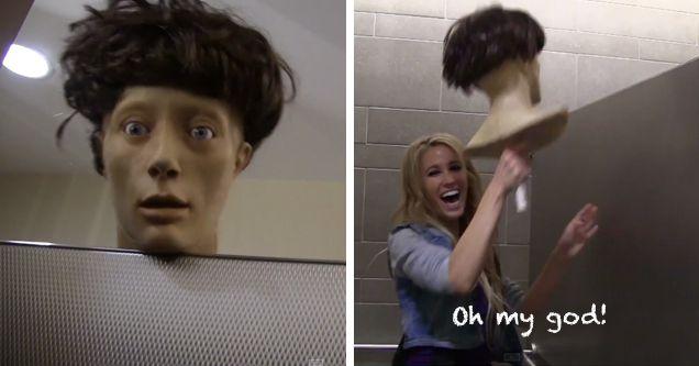 Girls Peeking Into Bathroom Stalls Prank