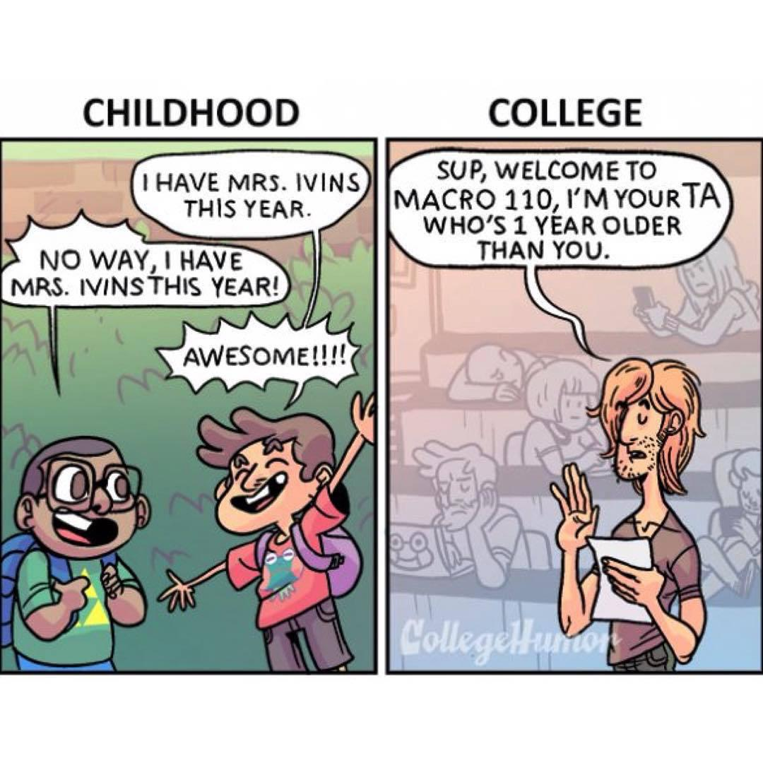 College High School: Back To #School: #Childhood Vs. #College