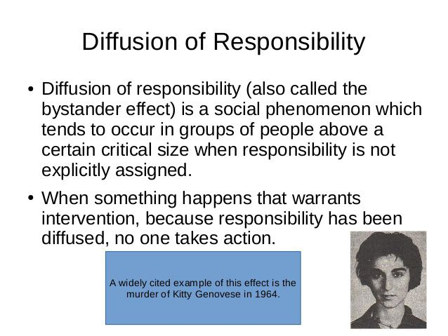 diffusion of responsibility Crowded minds: the implicit bystander effect stephen m garcia and kim weaver princeton university gordon b moskowitz such as the diffusion of responsibility.