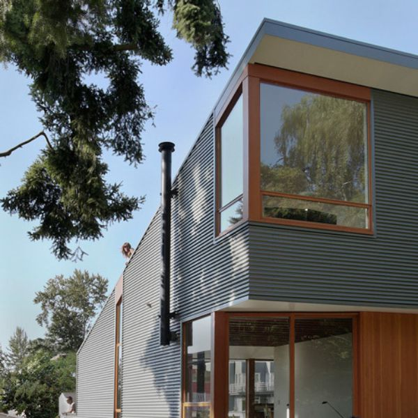Corrugated Metal Panel Architectural Details : Corrugated metal panels clad a house by shed architecture