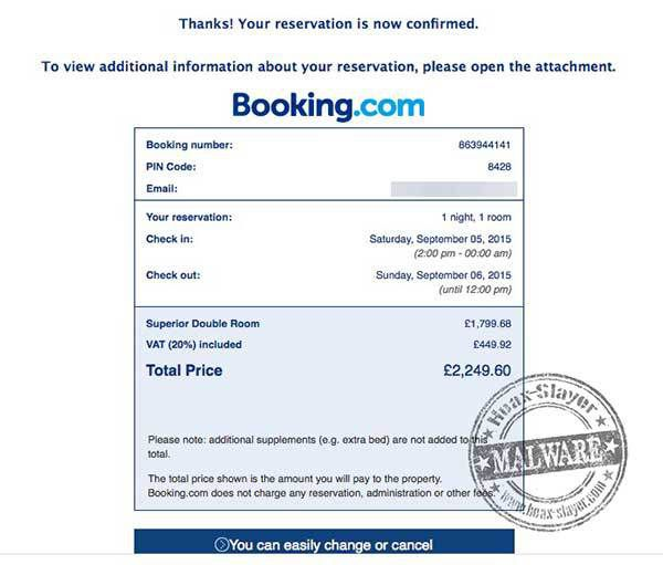 Hotel booking confirmation malware emails for Hotel e booking