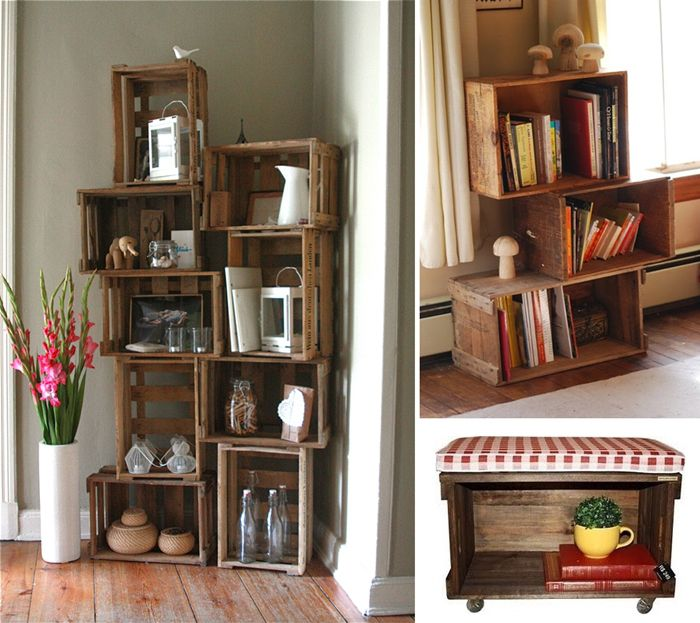 10 ingenious ideas to organize with old wooden crates for Decorating with milk crates