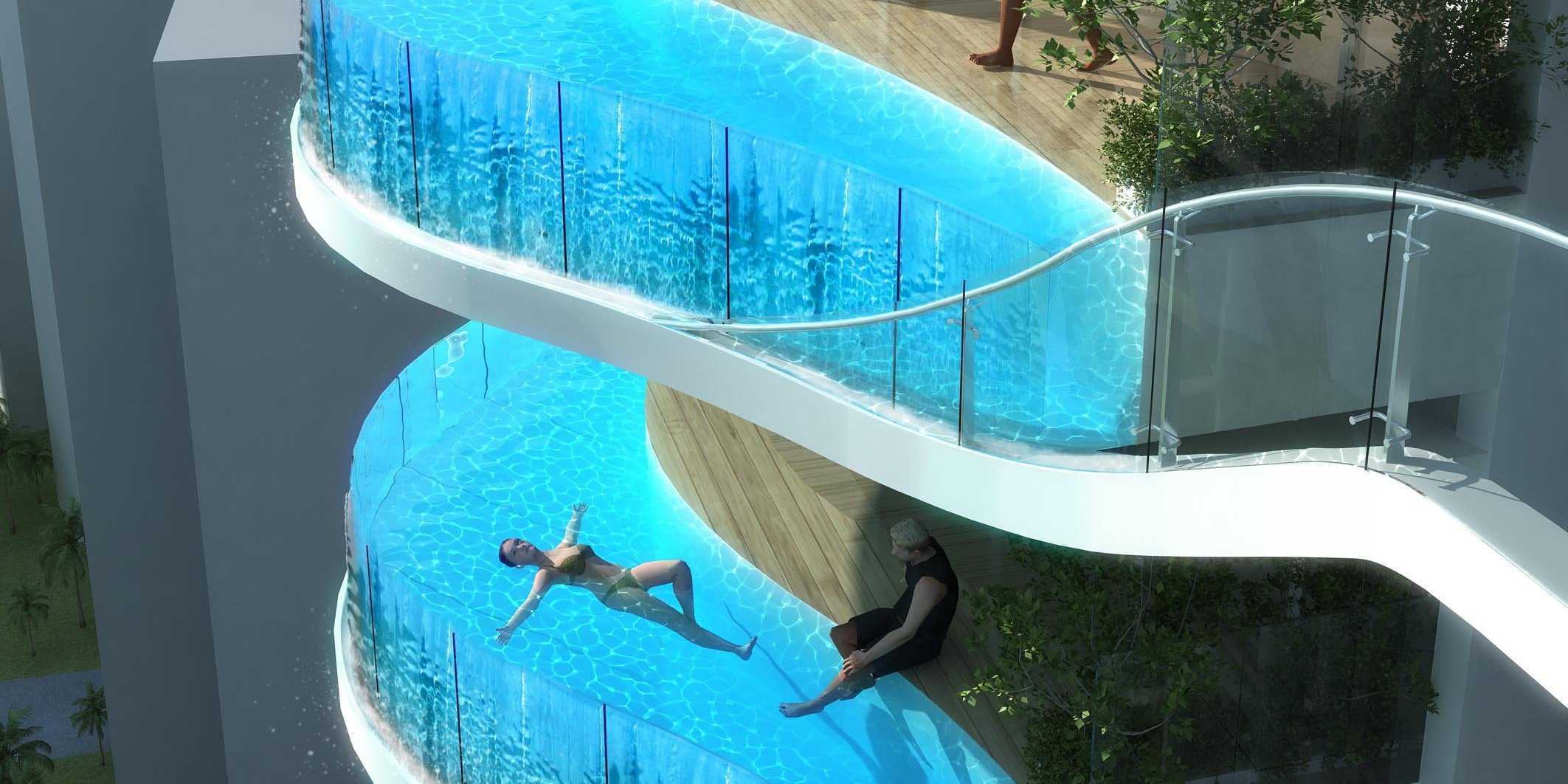 A luxury condo in india will have a private swimming pool - Hotel with swimming pool on every balcony ...